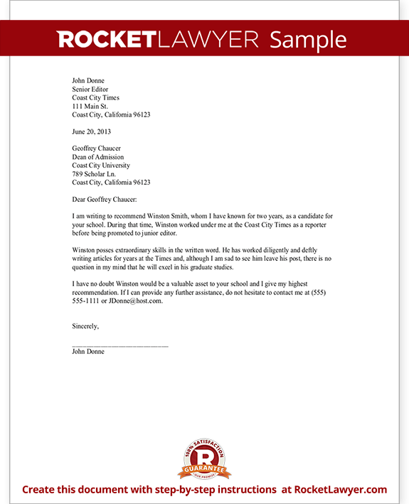 Recommendation Letter Template For Scholarship  Job  College With