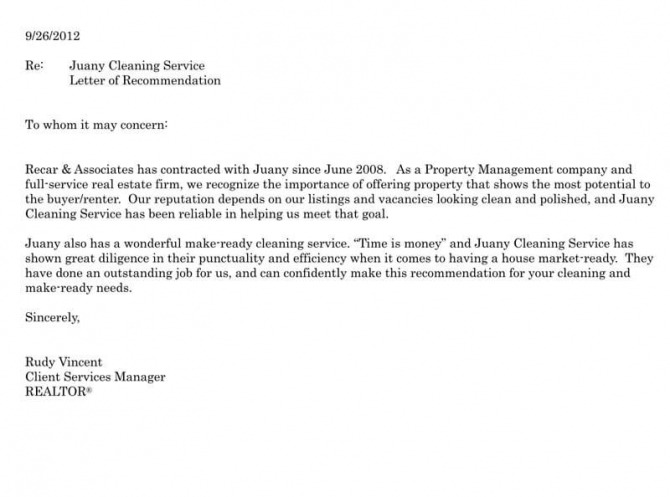 Recommendation Of A Business  Service Sample Letters   Examples