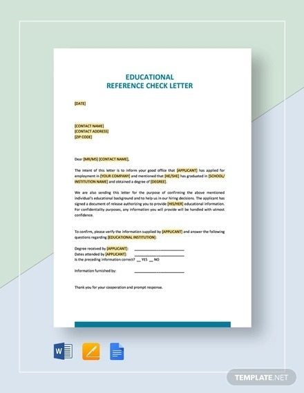 Reference Letter Examples