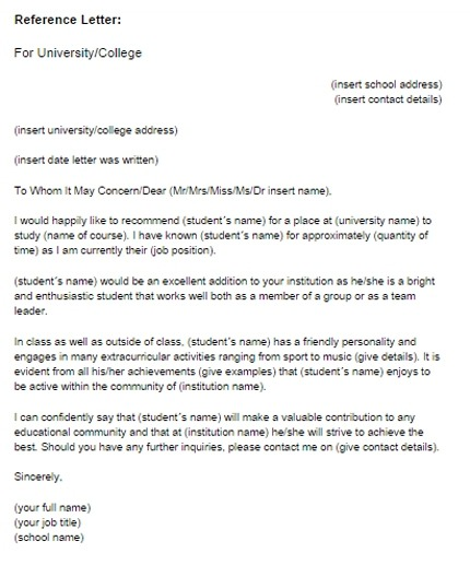 Reference Letter For A Student Sample