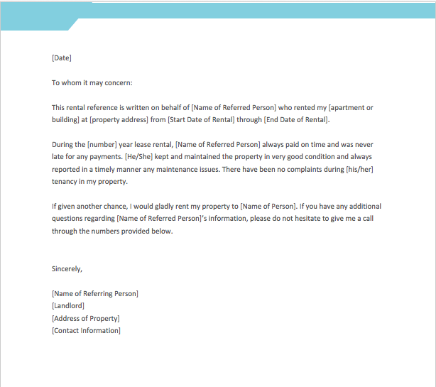 Reference Letter For Landlord From Employer