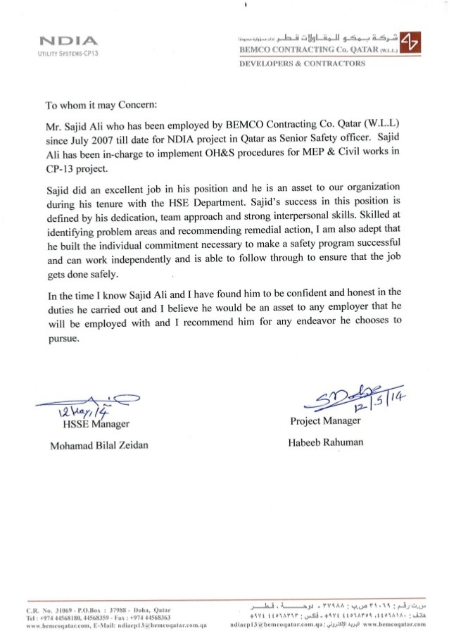 Reference Letter From Safety Manager   Project Manager