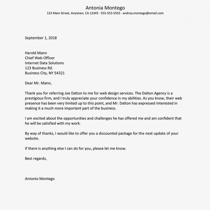 Referral Thank You Letter Example And Writing Tips