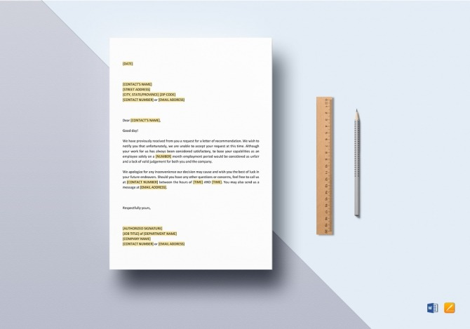 Refusal Of Request For Letter Of Recommendation Template In Word