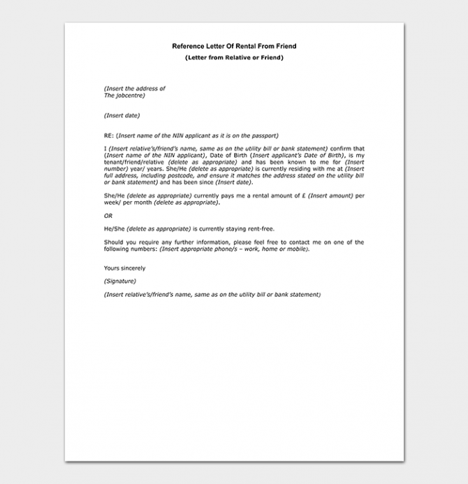 Rental Reference Letter How To Write With Format And Samples