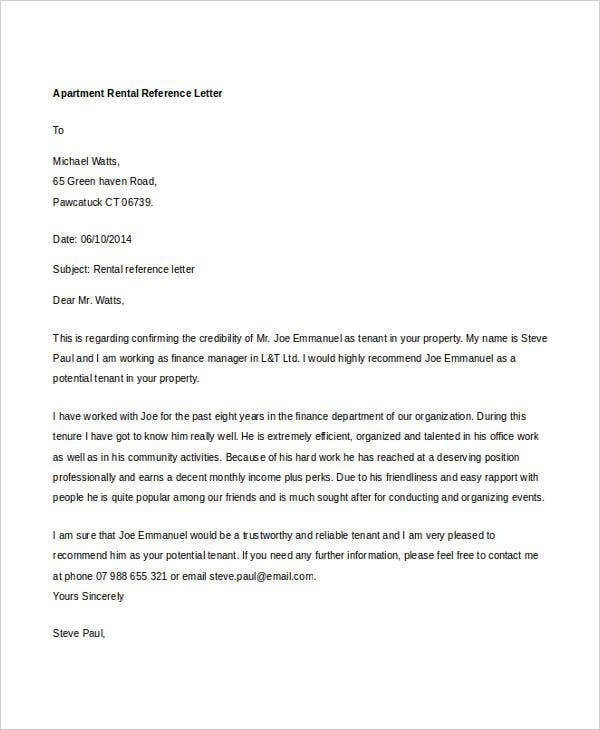Rental Reference Letter Templates