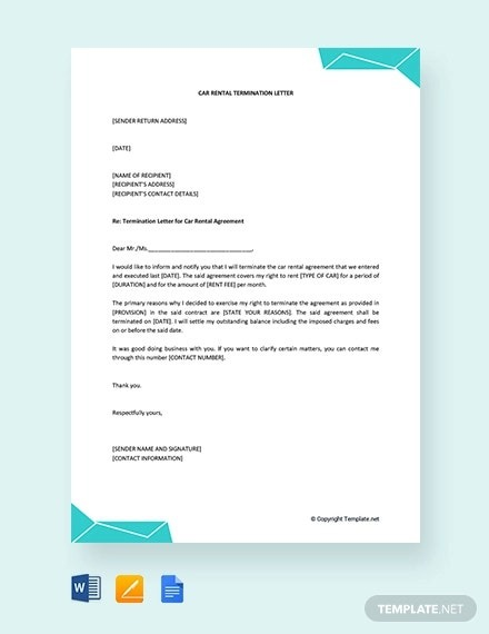 Rental Termination Letter Templates