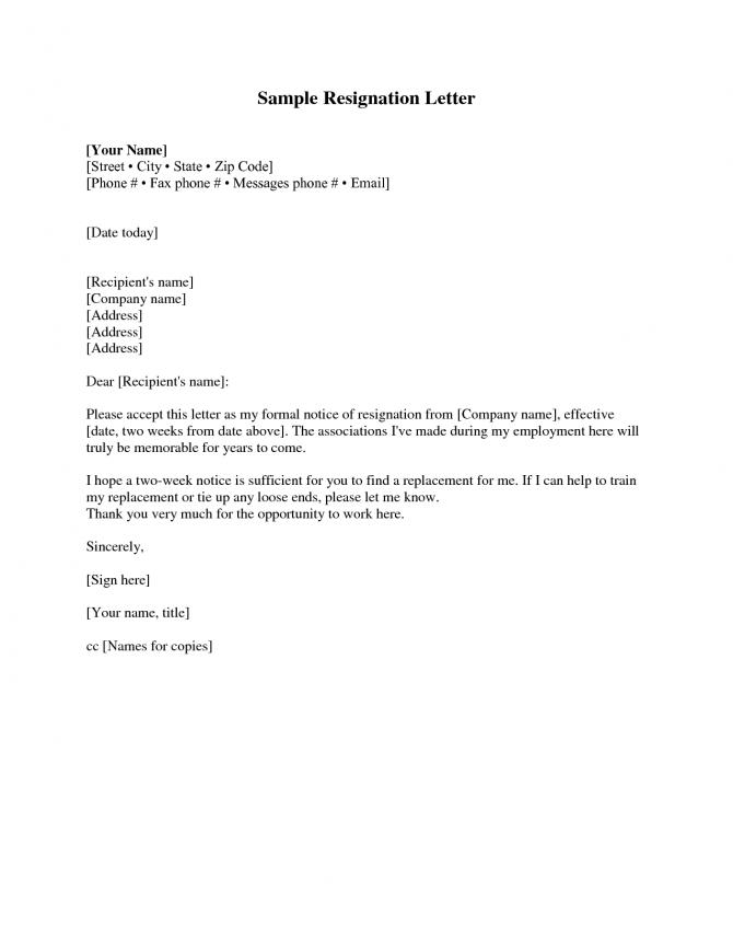 Resignation Letter  Weeks Notice Resignation Letter