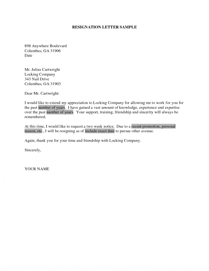 Resignation Letter Due Personal Reasons Resignationwriting Free