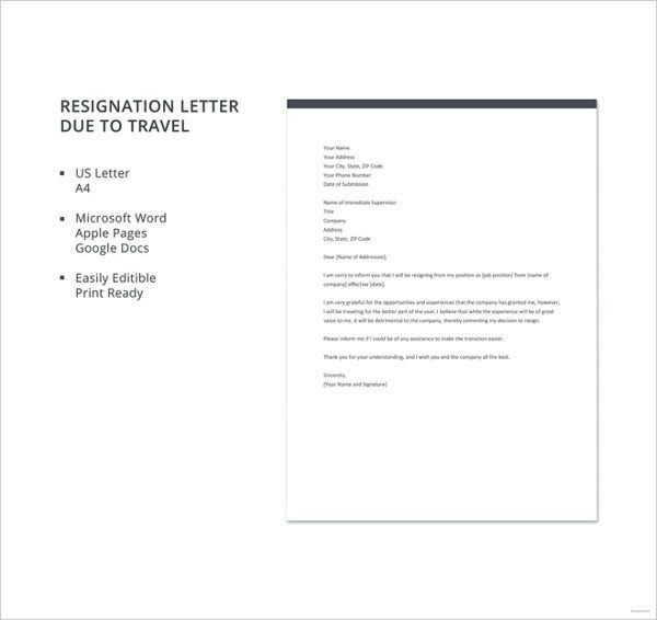 Resignation Letter Due To Relocation Template