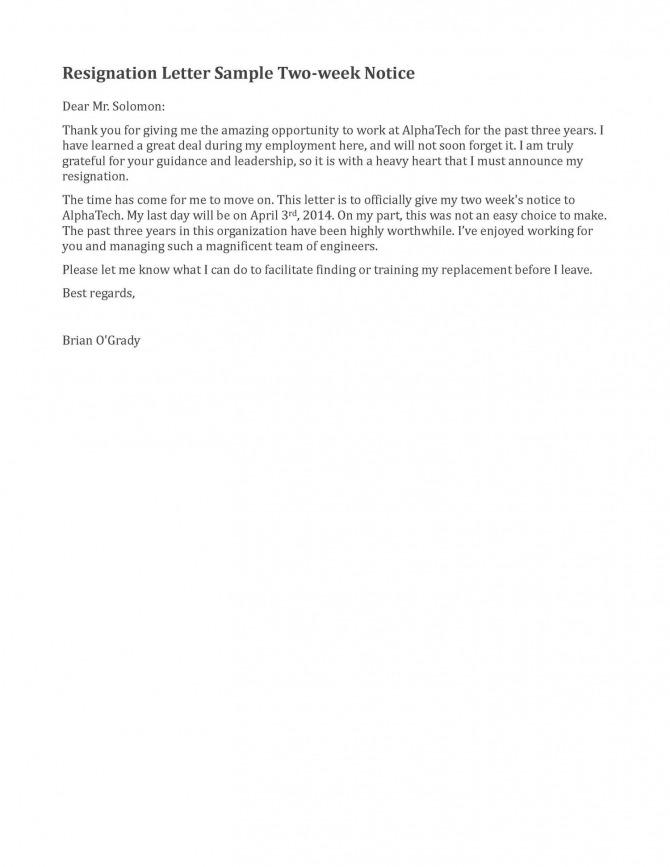 Resignation Letter Sample  Weeks Notice