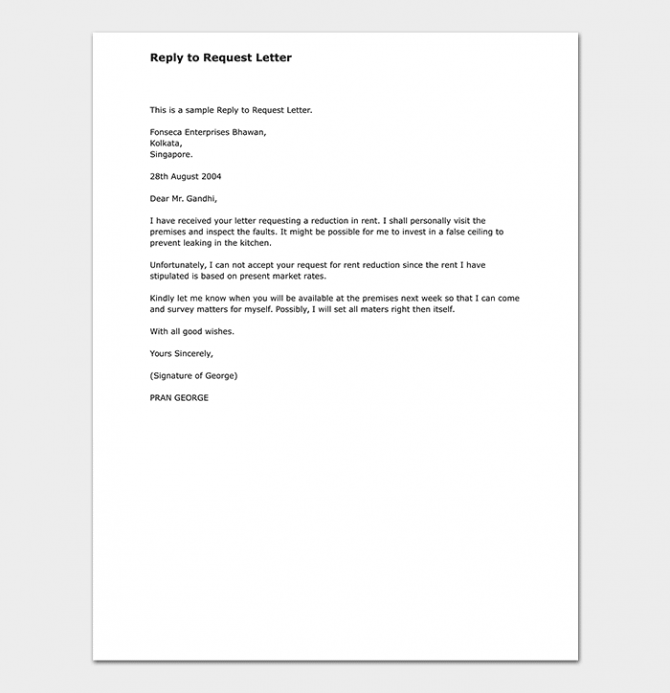Response Letter To A Request Format With Samples