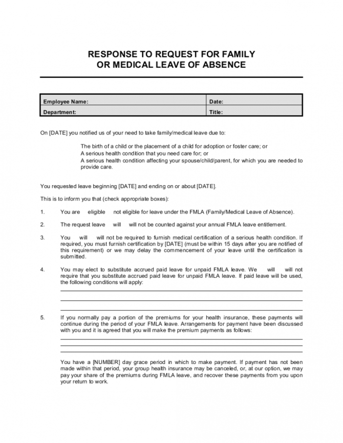 Response To Employee Request For Family Or Medical Leave Template