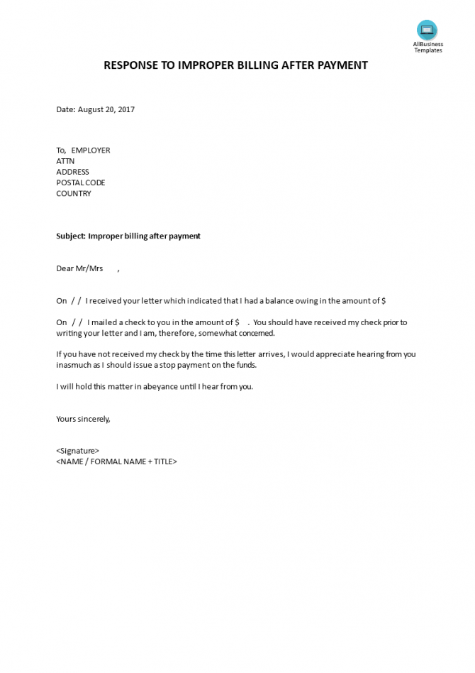 Response To Improper Billing After Payment