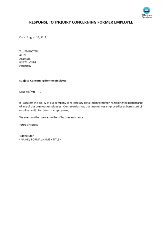 Response To Inquiry Concerning Former Employee