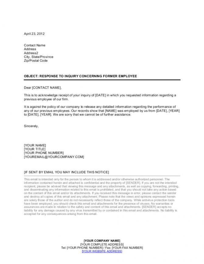 Response To Inquiry Concerning Former Employee Template