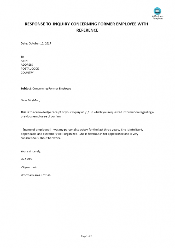 Response To Inquiry Concerning Former Employee With Reference