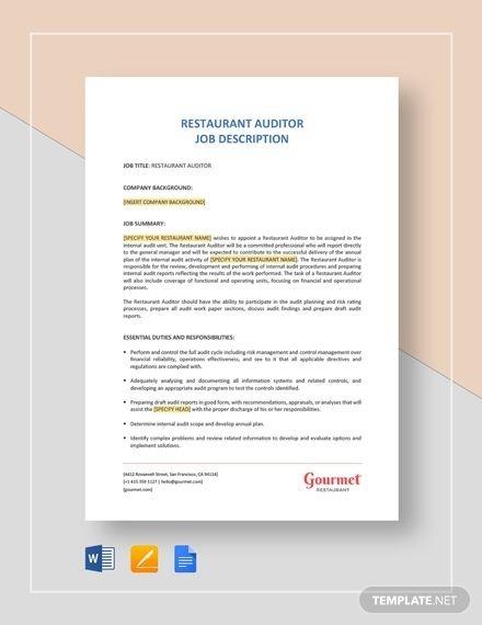Restaurant Auditor Job Description In
