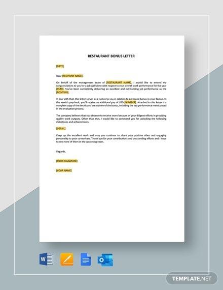 Restaurant Bonus Letter Template