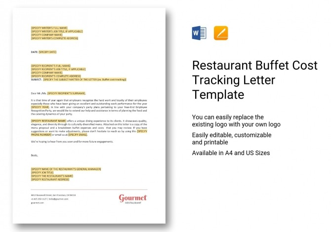 Restaurant Buffet Cost Tracking Letter Template In Word  Apple Pages