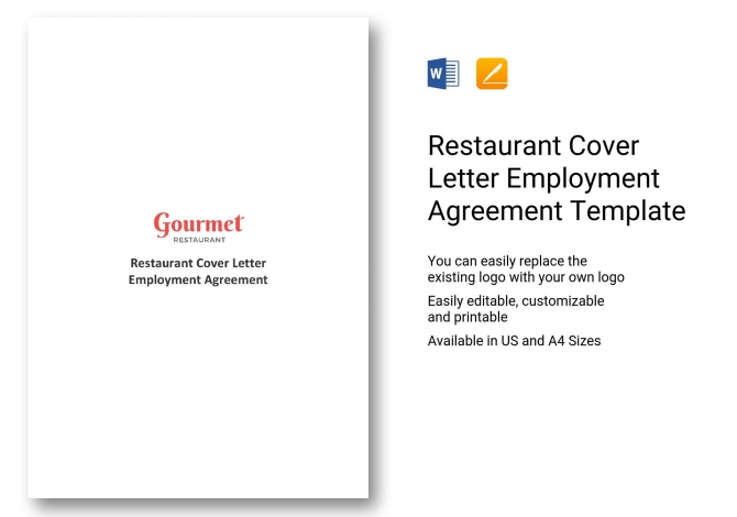 Restaurant Cover Letter Employment Agreement Template In Ms Word