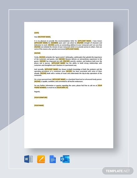 Restaurant Employee Personal Recommendation Letter Template
