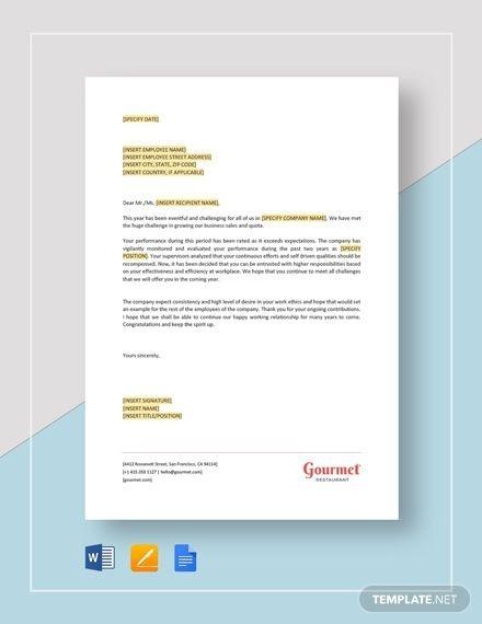 Restaurant Employee Salary Increment Letter