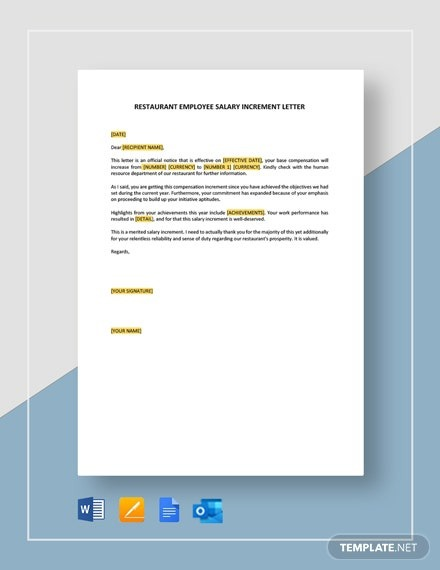 Restaurant Employee Salary Increment Letter Template