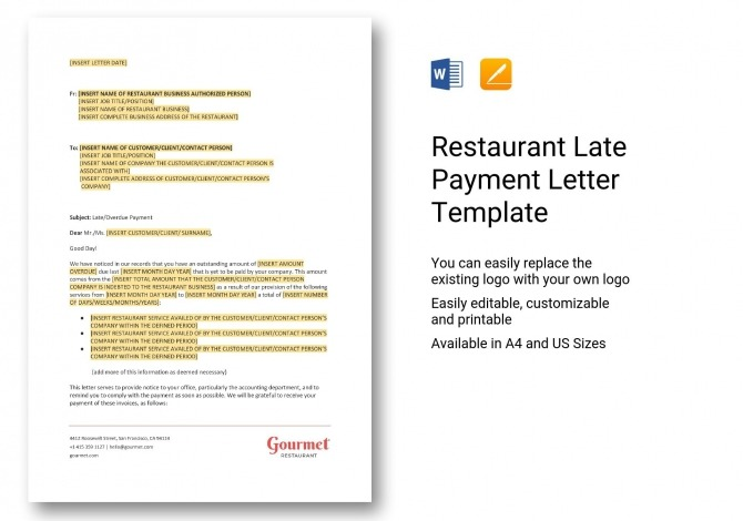 Restaurant Late Payment Letter Template In Word  Apple Pages