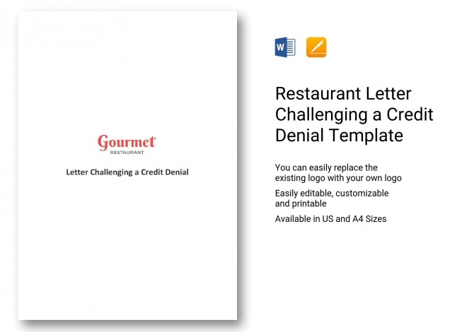 Restaurant Letter Challenging A Credit Denial Template In Word
