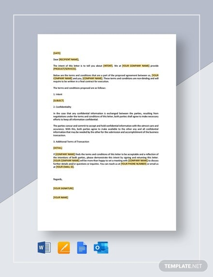 Restaurant Letter Of Intent For Transaction Template