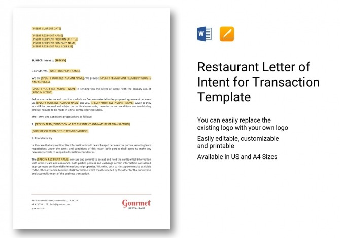 Restaurant Letter Of Intent For Transaction Template In Word