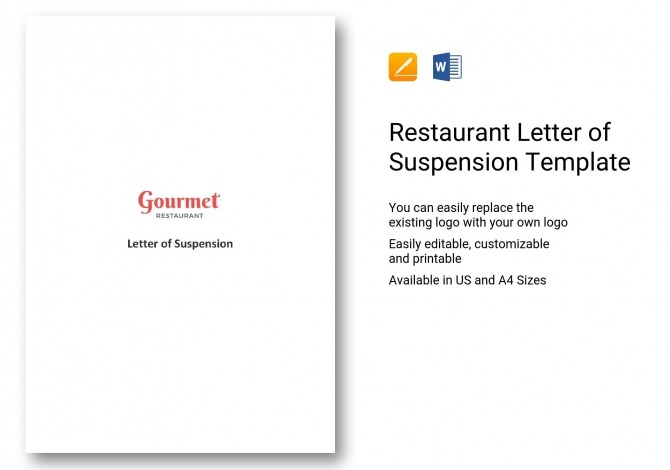 Restaurant Letter Of Suspension Template In Word  Apple Pages