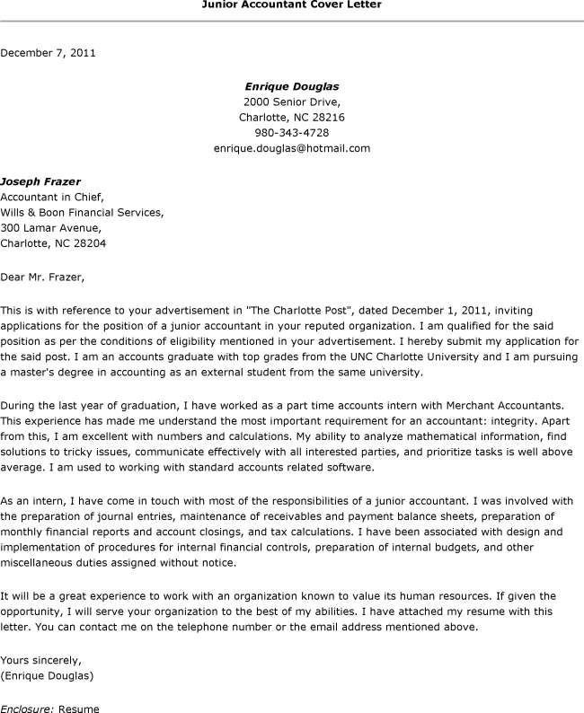 Resume Cover Letter Template For Accounting Junior Accountant