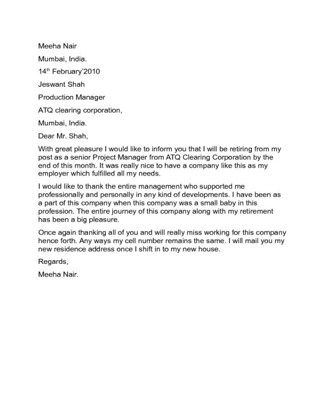 Retirement Farewell Letters Sample