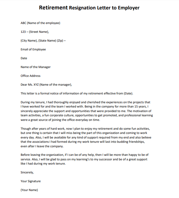Retirement Resignation Letter Format  Example  And Template