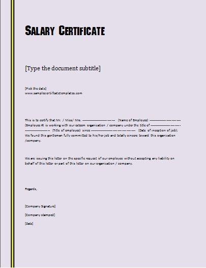 Salary Certificate Letter