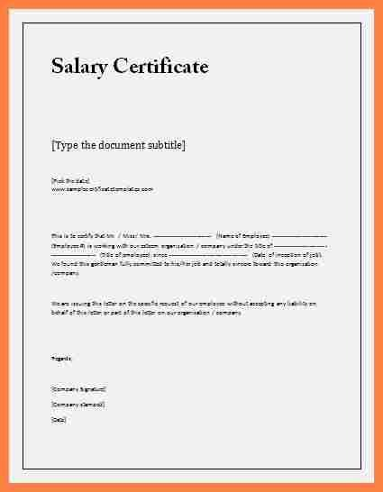 Salary Certificate Letter Format Word