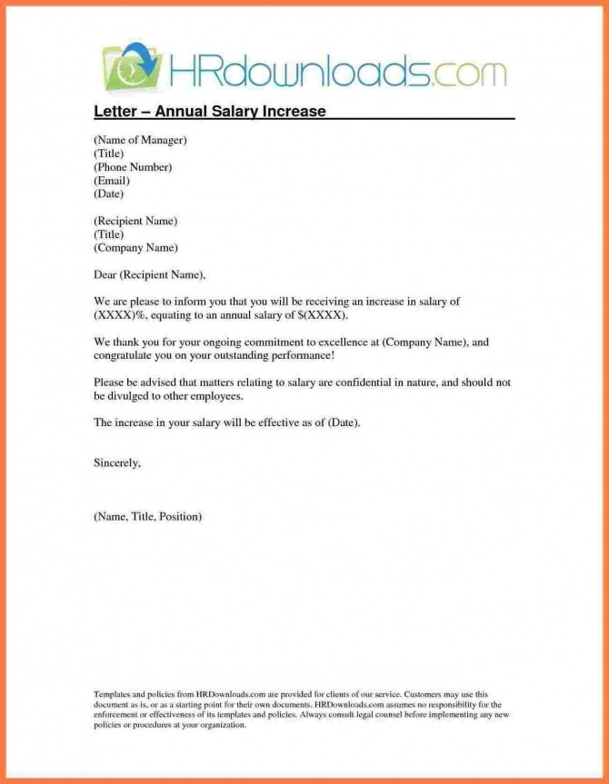 Salary Increment Letter Format By Employer Copy  Template Letter