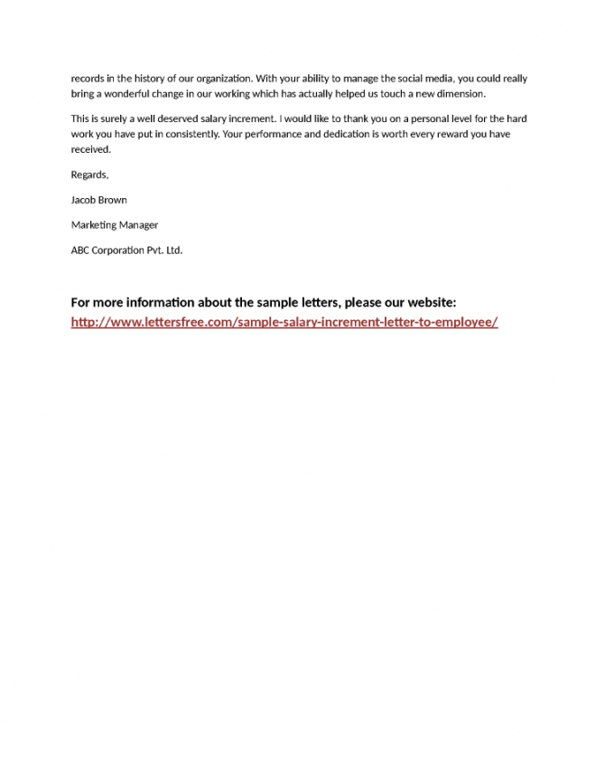 Employee Salary Appraisal Letter