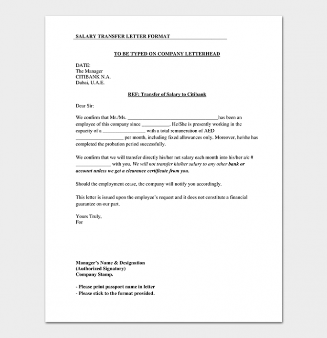 Salary Transfer Letter Format   Sample Request Letters
