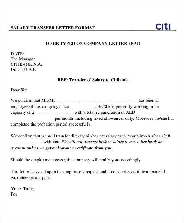 Salary Transfer Letter Template