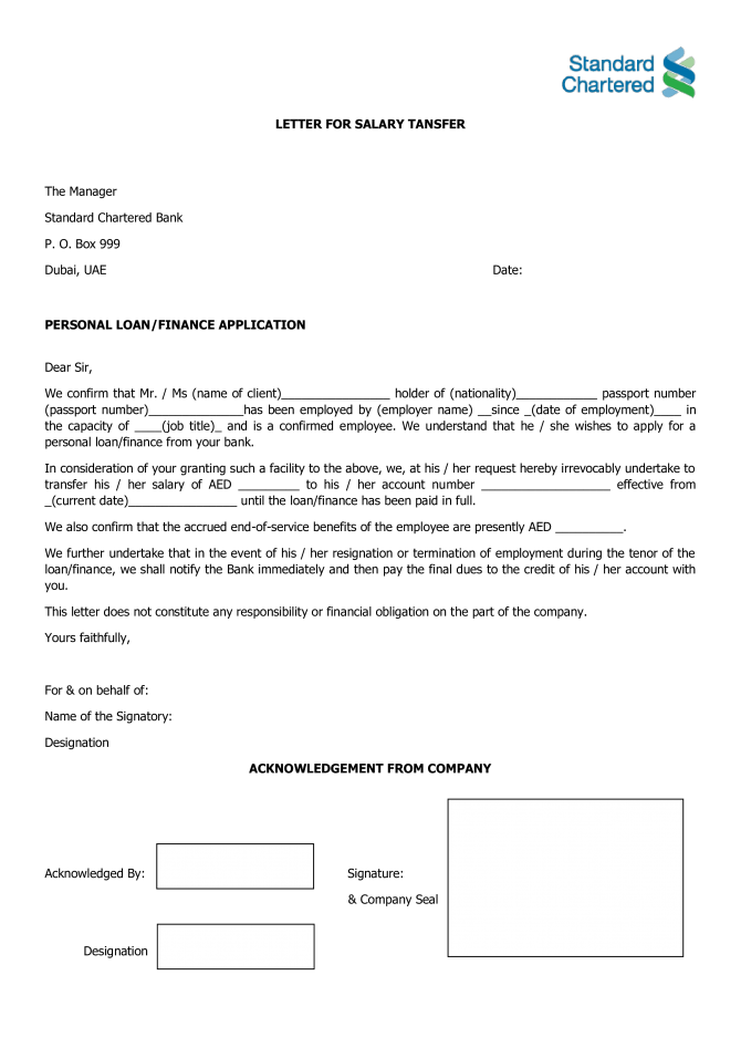 Salary Transfer Letter To Bank