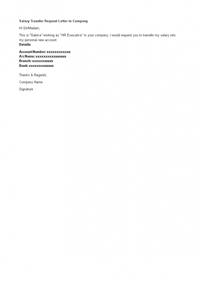 Salary Transfer Request Letter To Company
