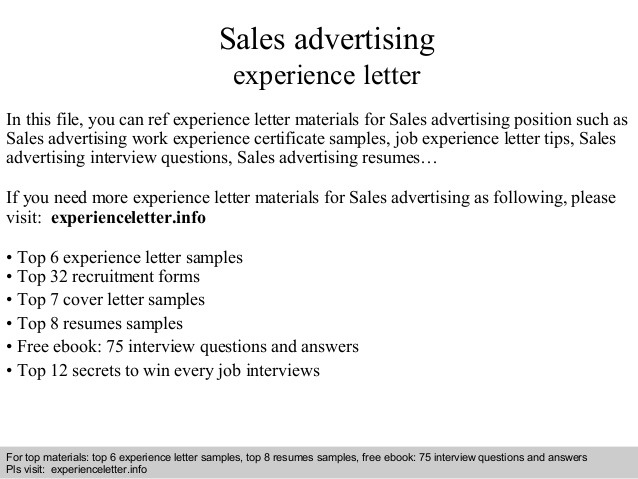 Sales Advertising Experience Letter