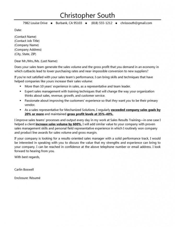 Job Application Letter For Sales Manager
