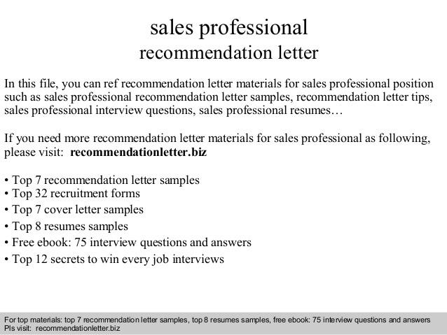 Sales Professional Recommendation Letter