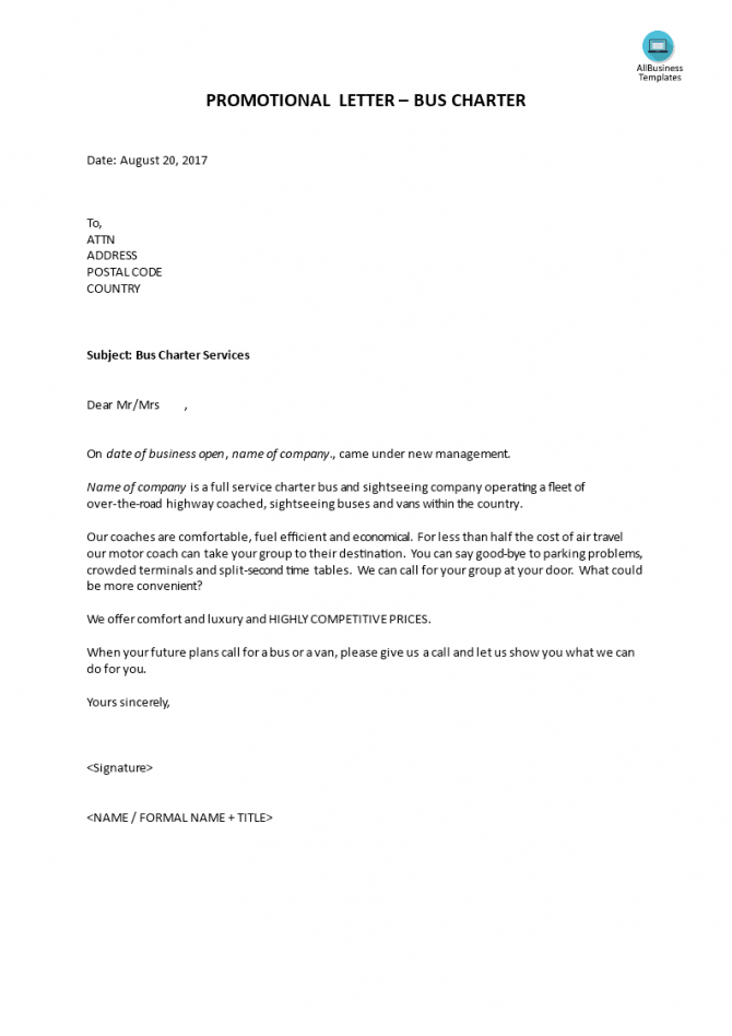 Sales Letter For Promoting A Service