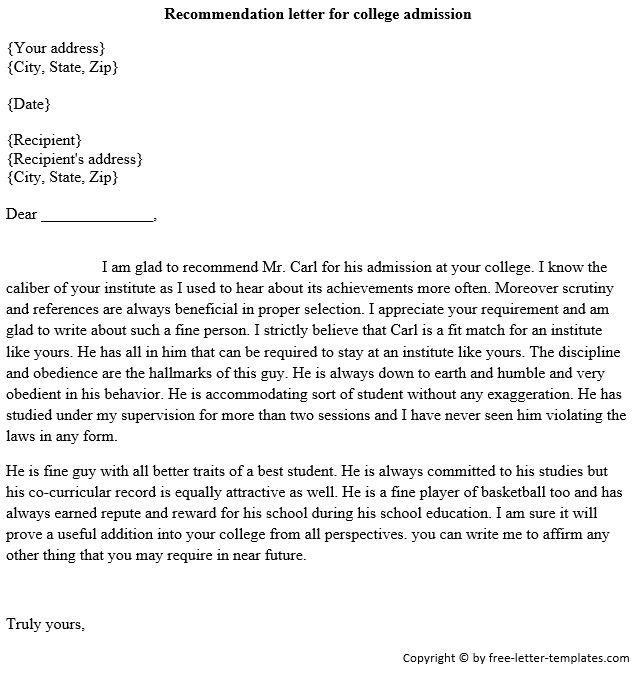 Sample Admission Recommendation Letter