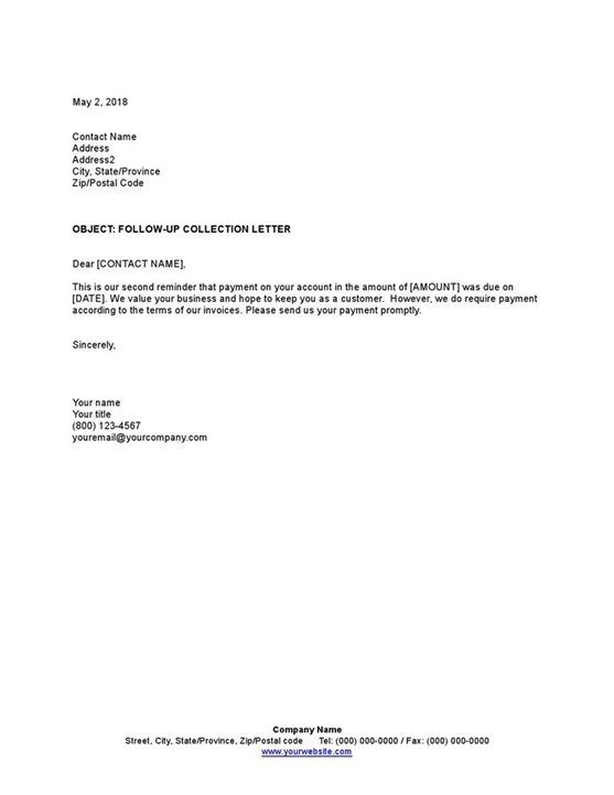 Sample Collection Letter Follow Up Template
